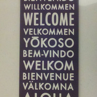 Welcome Plaque by themodpurplecow on Etsy