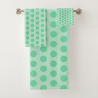 Large mint green polka dots pattern, retro style bath towel set