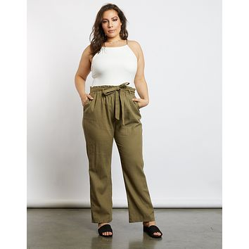 Plus Size Chloe High Waist Paper Bag Pants
