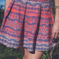 Tribal Print Skirt in Coral