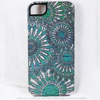 Premium Turquoise iPhone 5 5s Case -Ocean Lace - iPhone 5s TOUGH Case with Abstract Sea Urchin Art