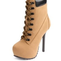 Lace-Up Hiker Heel Bootie by Charlotte Russe - Camel