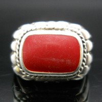 Red Coral Ring Sterling Silver Size 8 Vintage 925