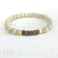 Natural Lotus Seed Bead Bracelet with Coconut Heishi and 14K Gold /Bohemian Stacking Bracelet /Nature Inspired /yoga jewelry neutral colours