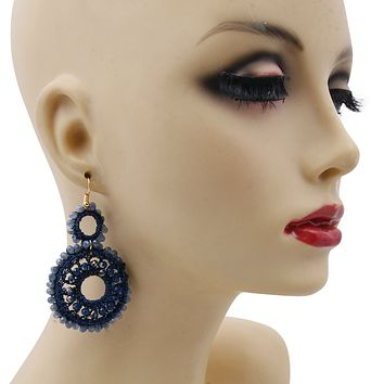 Blue Bead and Blue Thread Wrapped Round Drop Earrings