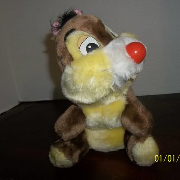 "vintage walt disney world chip & dale chipmunk dale with red nose plush 9"" tall"