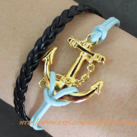antique golden anchor bracelet by handworld