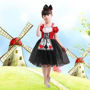 Kids Princess Girl Halloween Cosplay Costumes Alice In Wonderland Cosplay Dress for Children Fancy Clothes Cinderella Dress