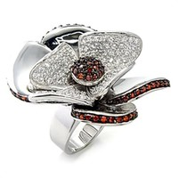 Petite Sterling Silver .925 Pave Garnet CZ Flower Ring