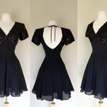 1980's black sequin dress, fit and flare mini dress, short sleeve black chiffon cocktail dress w/ crinoline, Medium, US 8