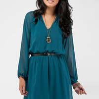 Long Sleeve Dress in Lagoon :: tobi