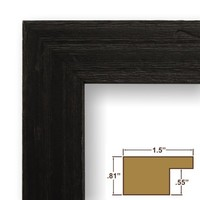 Craig Frames 1.5DRIFTWOODBK 24x36 Picture/Poster Frame, Wood Grain Finish, 1-1/2-Inch Wide, Distressed Black