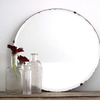 Vintage Round Wall Mirror - Frameless Beveled Bathroom Mirror, Decorative Hanging Mirror