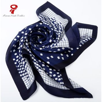 scarf 100% Silk Satin Small Square Scarf male Winter plaid neck Scarf men scarves bandana Luxury Brand foulard plaid Wrap hijab