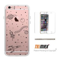 365Printing Space Pattern Clear iPhone Case Transparent TPU Phonecase