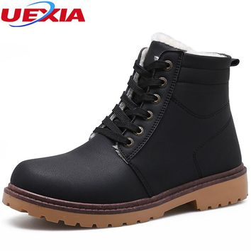 UEXIA New Winter Ankle Snow Boots for Men Warm With Plush&Fur Work Safety Casual Men Shoes Moccasin Footwear Fashion Male Rubber