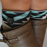 Tribal Aqua knit boot cuffs - Boot toppers