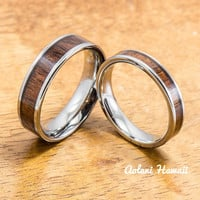 Wedding Band Set of Tungsten Rings with Hawaiian Koa Wood Inlay (4mm & 6mm width, Flat Style)