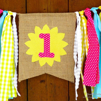 You Are My Sunshine Birthday Banner Highchair High Chair Garland First One Pink Aqua Yellow Spring Pink Lemonade Cake Smash Photo Prop Party