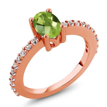 1.15 Ct Oval Peridot White Created Sapphire 18K Rose Gold Plated Silver Ring