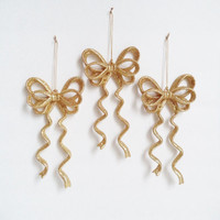 3 Large Vintage Gold Bow Christmas Ornaments Holiday Decor Glitter Sparkle Home Decor