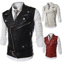 Sleeveless Leather Jacket/Vest for Men