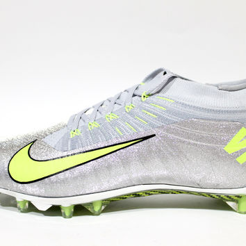Nike Men's Vapor Ultimate TD Shinny Metallic Silver/Grey Football Cleats 651338 070