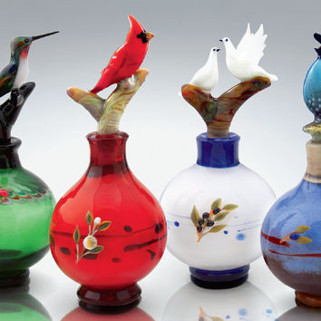 Bird Perfume Bottles by Chris Pantos: Art Glass Perfume Bottles | Artful Home