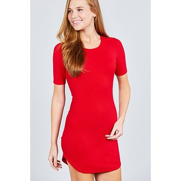 Ladies Short Sleeve Round Neck Rayon Spandex Rib Mini Dress ()