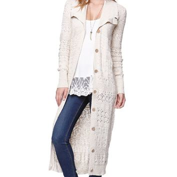 Roxy Pointelle Duster Cardigan - Womens Sweater