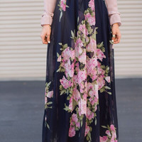 Princess Prairie Floral Navy Maxi Skirt