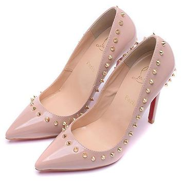 Christian Louboutin Fashion Edgy Rivets Pointed Heels Shoes