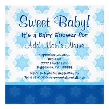Blue Stars and Bow Boy Baby Shower Custom Invitations - You can online customize