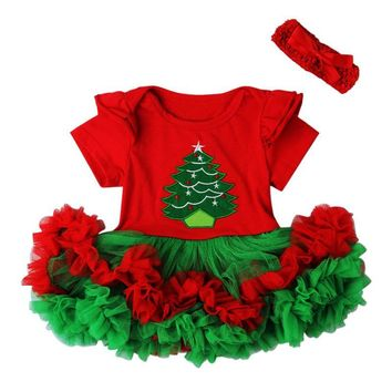 Christmas Tree Santas's Costume Girls Tutu Mini Dress + Headband Festival Photography Props Fancy Toddler Baby Clothing Vestidos