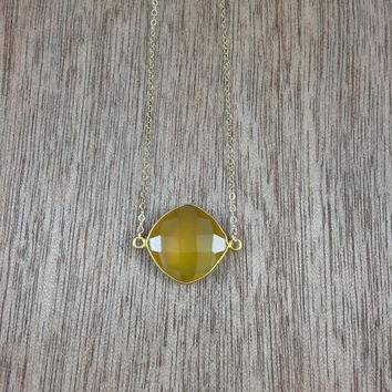 14k gold filled necklace with a 24k gold vermeil yellow chalcedony bezel connector / bridesmaid / dainty / minimalist / November birthstone