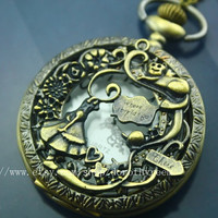 Alice in Wonderland pocket watch necklace steampunk jewelry men gift vintage style