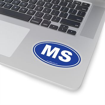 Mississippi MS Euro Oval Sticker SOLID