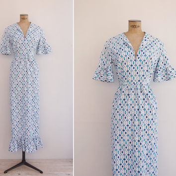 PUCCI Dress - Vintage 1970s Gown - 70s Emilio Pucci Designer Maxi Dress Medium M
