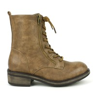 Mark and Maddux Wii-01 Lace-up Combat Boots in Taupe @ ippolitan.com