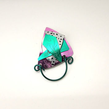 Green and Pink Magnetic Eyeglass Holder or ID Badge