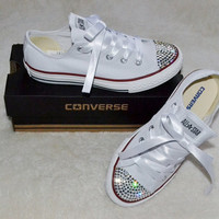 Customised Crystal White Low Top All Star by CrystalsAndKawaii