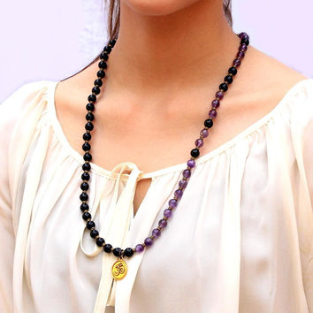 Patience and Healing, Onyx and Amethyst 54 bead convertible wrap mala bracelet or necklace