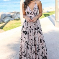 Beige Printed Maxi Dress with Criss Cross Back