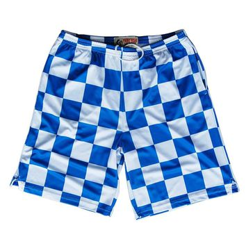 Royal and White Checkerboard Sublimated Lacrosse Shorts