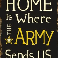 Home is Where the Army Sends Us Metal Parking Sign