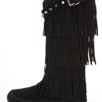 Black Fringe Tiered Moccasin Boots Faux Suede
