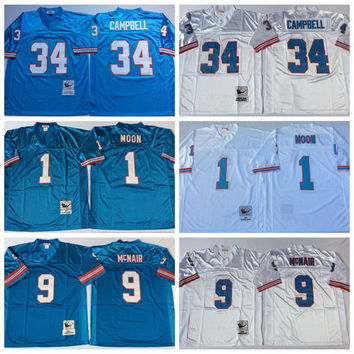 Throwback Football Jersey #1 Warren Moon Houston Retired Player #34 Earl Campbell Jerey #9 Steve McNair Vintage Oilers Jerseys For Sales