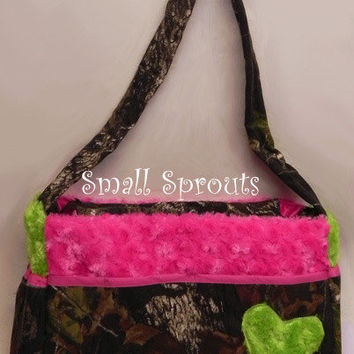 Custom Boutique Liberty Mossy oak with lime and hot pink-Fancy Diaper Bags-Match Your Car Seat Cover or Stroller Cover