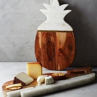 Marble & Acacia Cheese Board by Anthropologie in Neutral Size: