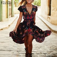 ZANZEA Women Maxi Long Dress 2016 Summer Boho Ladies Sexy V-neck Floral Print Dresses Split Casual Vintage Long Robe Vestidos